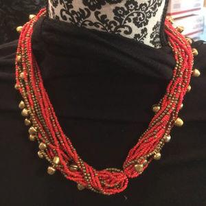 Jewelry - Multi-layered Orange & Gold Bead & Bell Necklace